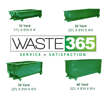 Waste 365 slidell construction roll of dumpster